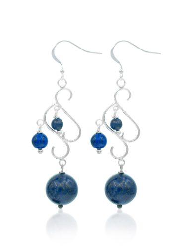Cercei din argint cu piatra lapis lazuli
