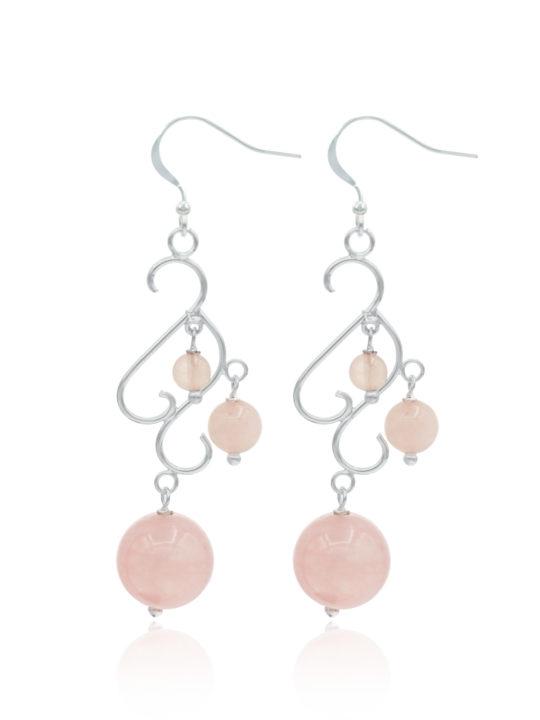 Cercei din argint cu piatra cuart roz