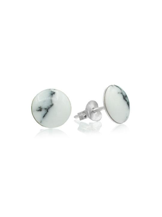 Cercei rotunzi din argint cu howlit