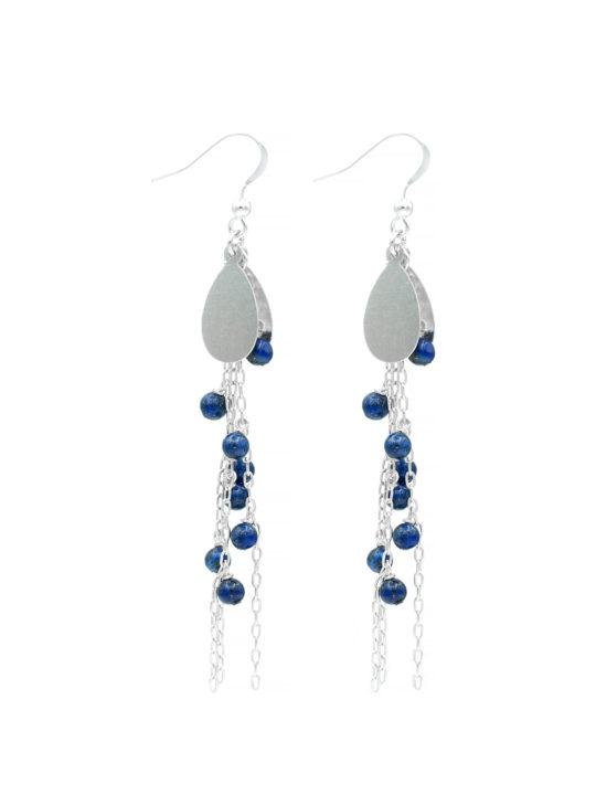 Cercei din argint cu lant si piatra lapis lazuli