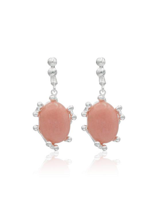 Cercei din Argint cu opal roz. Cercei unicat