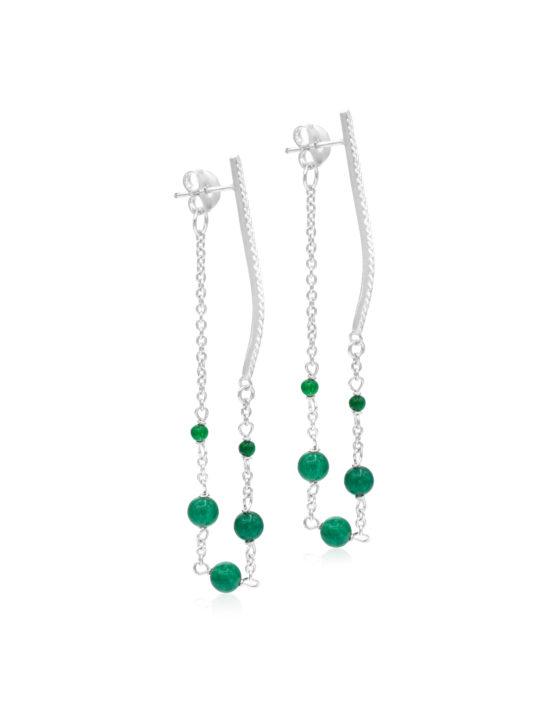 Cercei-argint-onix verde