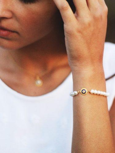 Bratara argint perle caramujo - model