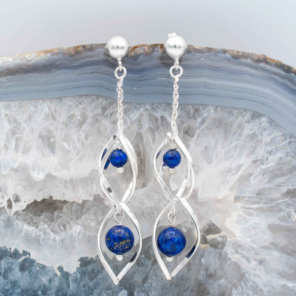 Cercei Swirl din Argint si Lapis Lazuli