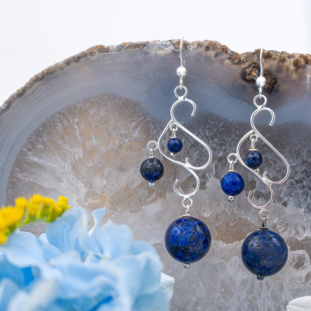 Cercei AOM din Argint si Lapis Lazuli
