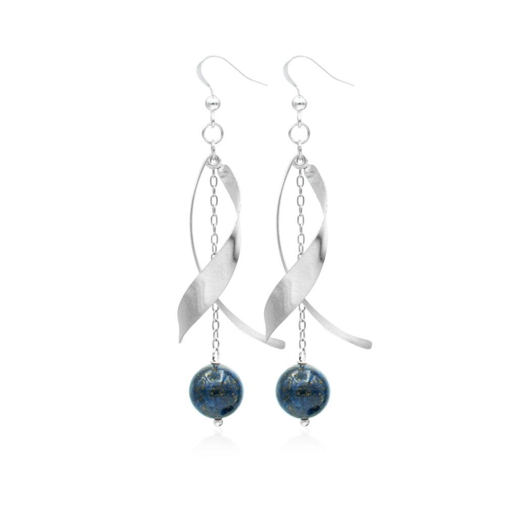 Cercei Anong din Argint si Lapis Lazuli